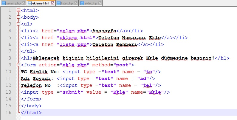 ekleme-html